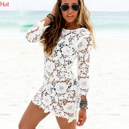 Wholesale Lace Up Bathing Suit - Hot Floral Summer Dress Hollow Out Sexy Women Lace Crochet Tassel Bikini Swimwear White Cover Up Beach Dress Bathing Suit Blouse SV030011