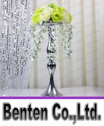 Wholesale wedding candelabra decorations - Wholesales Height 47cm Wedding Candle Holder Romantic Standing Wedding Candlestick Wedding Flower Stands Silver Candelabra LLFA302
