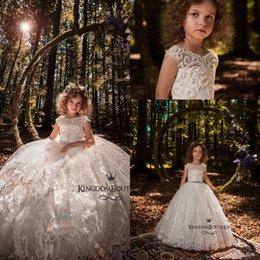 Wholesale Kids Purple Formal Dresses - Lovely Ivory Princess Jewel Neck Girls Pageant Dresses 2018 New Cap Sleeves Lace Appliques Beaded Flower Girls Dress Kids Formal Wear
