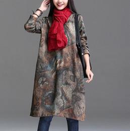 465a68bf07ad Stile di marca Abbigliamento donna Abbigliamento Donna vintage Loose Plus  Size Abiti Manica lunga 2016 Autunno inverno Abito in lino nazionale in  cotone