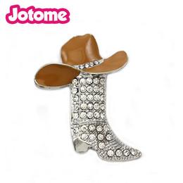 Wholesale Rhinestone Black Cowboy Hat - Zinc Alloy Jewelry Lucky western boots rhinestone cowboy boots for womens brooches Enamel cowboy hat pins