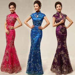 Wholesale Embroidered Sequin Cheongsam Dress - 3 colors US2-US10 2017 NEW Fashion Chinese Tradition Cheongsam sheath short sleeve hollow out neck evening dress
