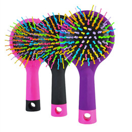 Wholesale Volume Hair Tool - Hot Sele 1pc Rainbow Volume Anti-static Magic Detangler Hair Curl Straight Massage Comb Brush Styling Tools With Mirror