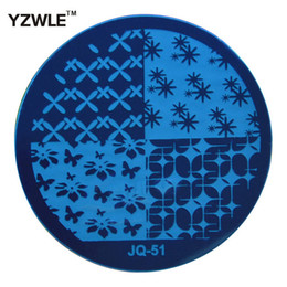Wholesale Nail Art Stamping Stencils - Wholesale- YZWLE 1 Pcs Stamping Nail Art Image Plate, 5.6cm Stainless Steel Nail Stamping Plates Template Manicure Stencil Tools (JQ-51)