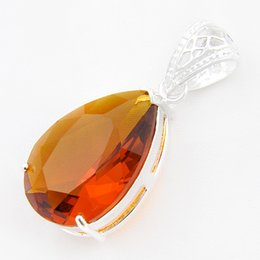 Wholesale fire citrine - 6Pcs 1lot Florid Waterdrop Fire Brazil Citrine Gems 925 Sterling Silver Pendants Necklace USA Israel Wedding Engagement Weddings Jewelry