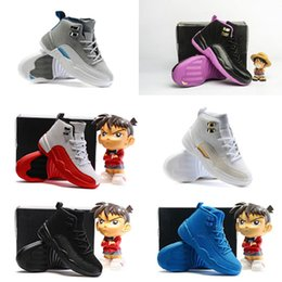 Wholesale Shoes Sport For Girl - Sneakers Kids Shoes Girls Boys Hyper Violet 12s Wolf Grey Blue Retro 12 XII OVO Black White Cherry GS Sports trainers for sale