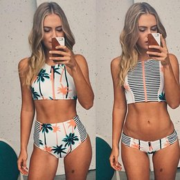 Wholesale Wholesale Plus Size Bras Sets - Sexy Print Floral Palm Tree Bikini Sets High Neck Tank Zipper Striped Swimsuit Padded Bra High Waist Swimwear Vintage Bathing Suit Plus size