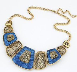 Wholesale Geometric Choker - New statement necklaces for women Simple geometric metal sector necklaces temperament short chokers necklaces free shipping