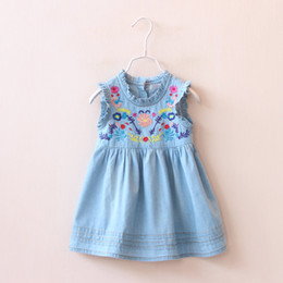 Wholesale New Sundresses - 2016 Summer New Girl Dress Ruffle Collar Colorful Embroidery Denim Sundress Baby Denim Dress Children Clothing 90-130CM