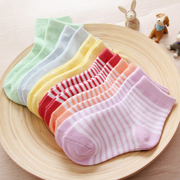 Wholesale Combed Cotton Child Sock - Spring Autumn Style Kids Socks Cute Stripe Dot Socks For Children Lovely Baby Candy Colors Combed Cotton Socks Foot Cover