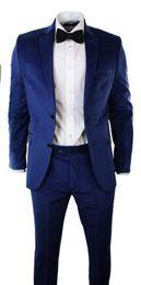 Wholesale Cheap Slim Blazers - Hot Sale Cheap Groom Tuxedos Groomsmen Wedding Suits Royal Blue Best Man Men's Clothing Two Buttons Slim Fit Blazer(Jacket+Pants)