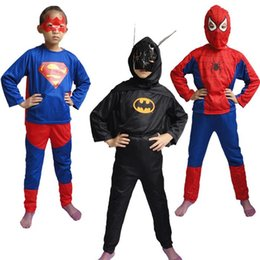 Wholesale Teenage Clothes For Wholesale - Mardi Gras costume party clothes cosplay suit Spiderman Superman Bat man set Showtime clothing stage performance clothes for child kids EMS
