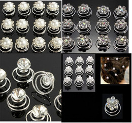 Wholesale Spin Pin Hair Clips - 2016 New 120 pcs Bridal Hair Rhinestone Flower Swirl Spiral Wedding Twist Coils Hair Spin Pins Women Hair Jewelry Accessories
