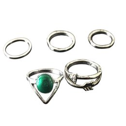 Wholesale Emerald Version - Korean version of the simple retro ring combination Imitation emerald ring female forefinger 1 set 5 pieces