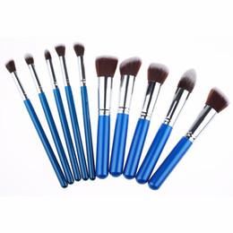 Wholesale Professional Makeup Brushes Black - Professional 10 PCS Makeup Brushes Set Cosmetics Facial Foundation Synthetic Hairbrush Women Makeup Tools Kabuki Brushes