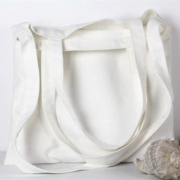 Wholesale Foldable Reusable Grocery Bags - White  Black 8 Color Canvas Shopping Bag Foldable Reusable Grocery Bags Cotton Fabirc Eco Tote Bag