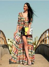 Wholesale Petals Direct - Factory Direct Explosion Fan Bingbing Fund Tie-dyed Printing Long Sleeve Chiffon Beach Maxi Dress Exceed Longuette Work Bodycon Dresses