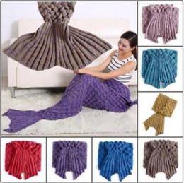 Wholesale Mattresses Sleep - 11 Colors 195*90cm Mermaid Blankets Knitted Mermaid Tail Blankets Adults Crochet Sleeping Bags Mattress Mermaid Blanket CCA7358 20pcs