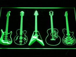 Wholesale Led Signs Guitar - c099 Guitar Weapons Band Room LED Neon Sign with On Off Switch 7 Colors to choose Cheap light up sign
