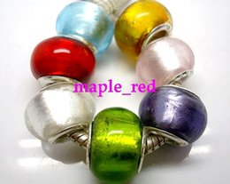Wholesale ba gold - 50PCS mixed Fashion Pure Foil Gold European Style Lampwork Glass Beads fit Charm Braceleten gros en vrac Prix bas
