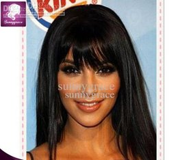 Wholesale Celebrity Glueless Wig - Perfect silky straight human hair front lace wig with bangs Malaysian celebrity wigs 130density glueless full lace wig with natural hairline