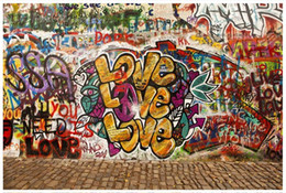 Wholesale proof love - High end Custom 3d photo wallpaper murals wall paper Retro LOVE street graffiti 3D living room wallpaper background wall home decor