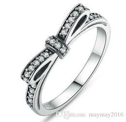 Wholesale Bow Ring Wedding Band - 100% 925 Sterling Silver Sparkling Bow Knot Stackable Pandora Ring Wedding Jewelry for Women Elegant Rings Bijoux Femme Sieraden