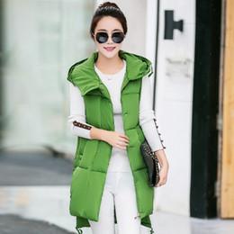 Wholesale Long Hooded Down Vests - Winter new Vest Womens Coat Korean Slim Down padded vest long padded hooded jacket British waistcoat
