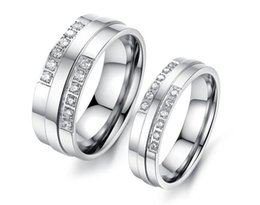Wholesale Couple Brand Ring Stainless Steel - Wholesale Brand Lovers' Stainless Steel Wedding Bands Fashion Crystal Stone Women Men Finger Rings Jewelry Cheap Price Lovers Rings 426