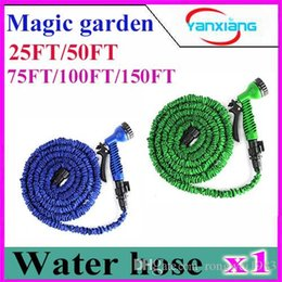 Wholesale Expandable Flexible 25 - 1PCS Blue Expandable & Flexible Hose Water Garden Pipe Connect to Spray Nozzle For Water Flowers Original 25-150FT ZY-SG-04