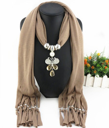 fashion crystal butterfly Promo Codes - Direct Factory Newest Fashion Alloy Rhinestones Insect Pendant Scarf Elegant Crystal Butterfly Colored Scarves Necklace