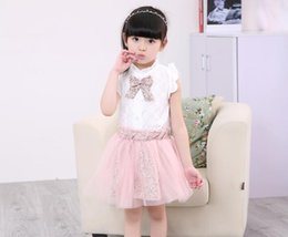 Wholesale Bow Tie Tops - Baby Outfits Suits Summer Girls Sets Lace Floral Clothes Bow Tie White Tops Floral Tulle Skirt Sets Girls Clothing Baby Girls Clothes
