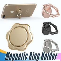 Wholesale Metal Flower Stands Wholesale - Finger Ring Magnetic Holder Flower Metal Original 360 Degree Mobile Phone Universal Stand Holder Fit For Magnetic Smartphone