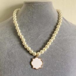 Wholesale Metal Round Blanks Wholesale - Monogram Enamel Quatrefoil Magnolia Disc Blanks necklace pearl bead necklace