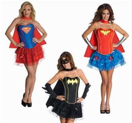 Wholesale Corset For Women Costume - Superwoman Batman Green Lantern Corsets Woman Costume Cosplay Halloween Carnival Costumes For Women with Cape Cartoon Corsets
