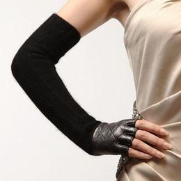 Wholesale Long Genuine Leather Gloves - 2016 Fashion Real Genuine Leather Winter Glove Opera Long Black Wool Sheepskin Half Finger Women Gloves Free Shipping L111nq