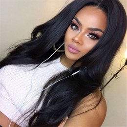 Wholesale Silk Top Human Wigs - high quality glueless full lace human hair wigs with baby hair silk top lace wig natural straight