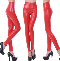 Wholesale Leather Pants Style Women - Fashion Metallic Color Shiny Leather Look Leggings Winter Sexy Women Fitness Elastic Waist Skinny Pencil Pants Trousers Warm 21 colors