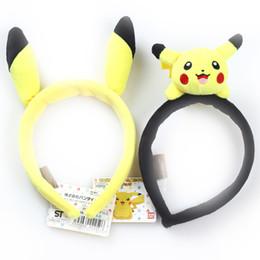 Wholesale Pikachu Toys - Hot Sale 2 Style 12*16cm PIKACHU Hair clasp Pokémon Pocket Monsters Cartoon headdress Plush Doll hair band For party 064