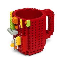 Wholesale Christmas Coffee Mugs Gifts - New Creative Build-On Brick Lego Mug Type Building Blocks Coffee Cup DIY Block Puzzle Mug 350ml Tea Cup 12oz Lego Cup Christmas Gift