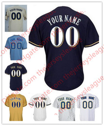 Wholesale Milwaukee Blue - Mens Womens Youth Milwaukee Custom Cool Base White Gray Cream Navy Stitched Any Name Any Number Throwback Jerseys S-4XL