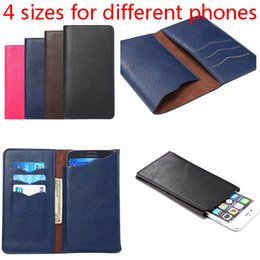 Wholesale Card Sized Mobile Phone - New Arrival 4 sizes for kinds of mobile phone Elephant grain card slots wallet style Phone Bag Cover Case For Multi Belt Case