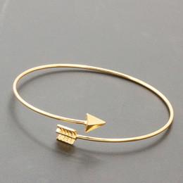 Wholesale Gold Arrow Bracelet Wholesale - XS 2017 New Alloy Gold & Silver & Black Colors Bracelet for Women Arrow Openings Bangle Accessories Wholesale