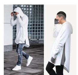 Wholesale British Clothing Styles - British Style Men Hoodies Hip Hop Streetwear Long Zipper Arc Cut Extended Sweatshirts Tyga Sportswear Bapee Kanye West Clothing