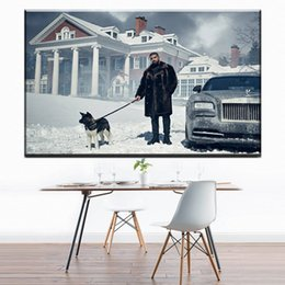 Wholesale Music Art Decor - ZZ1624 Drake And His Dog Snow Hip Hop Rap Music Star Hot New Art Print Poster Canvas Painting Wall Picture Home Decor paintings