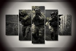 Wholesale Battlefield Poster - 5 Panel HD Printed Special Forces Battlefield Painting on canvas room decoration print poster picture canvas Free shipping