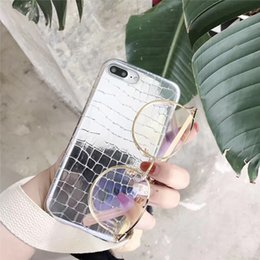Wholesale Bling Iphone Leather Back - Crocodile Grain Phone Case for iphone 8 plus TPU + Leather Bling Silver Back Cover for iphone 6s 7 7 plus