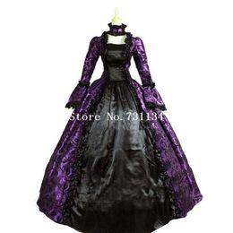 Wholesale Gothic Renaissance Dresses - Best Seller Gothic Purple and Black Floral Print Brocade Victorian Era Dress Stage Costume