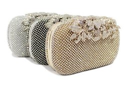 Wholesale Metal Evening Purses - Trend shine women Rhinestone and metal evening bag Bridal clutch Can shoulder Chain Purse Wallet Makeup Kit Cross Body Bag