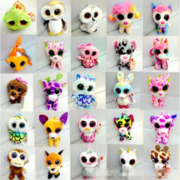 Wholesale Big Eye Ring - 10cm TY Beanie Boos Big Eyes Keychain Stuffed Toys Owl TY Beanie Boos Key Rings Christmas Gifts Ty Pendants CCA7308 300pcs